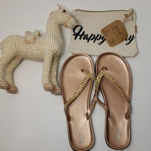 Mossimo rose gold tong sandals